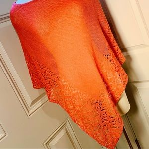 BCBG Maxazria Orange light Knit Poncho OS EUC